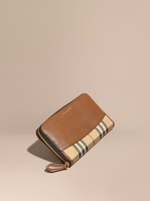 Horseferry Check and Leather Ziparound Wallet in Tan