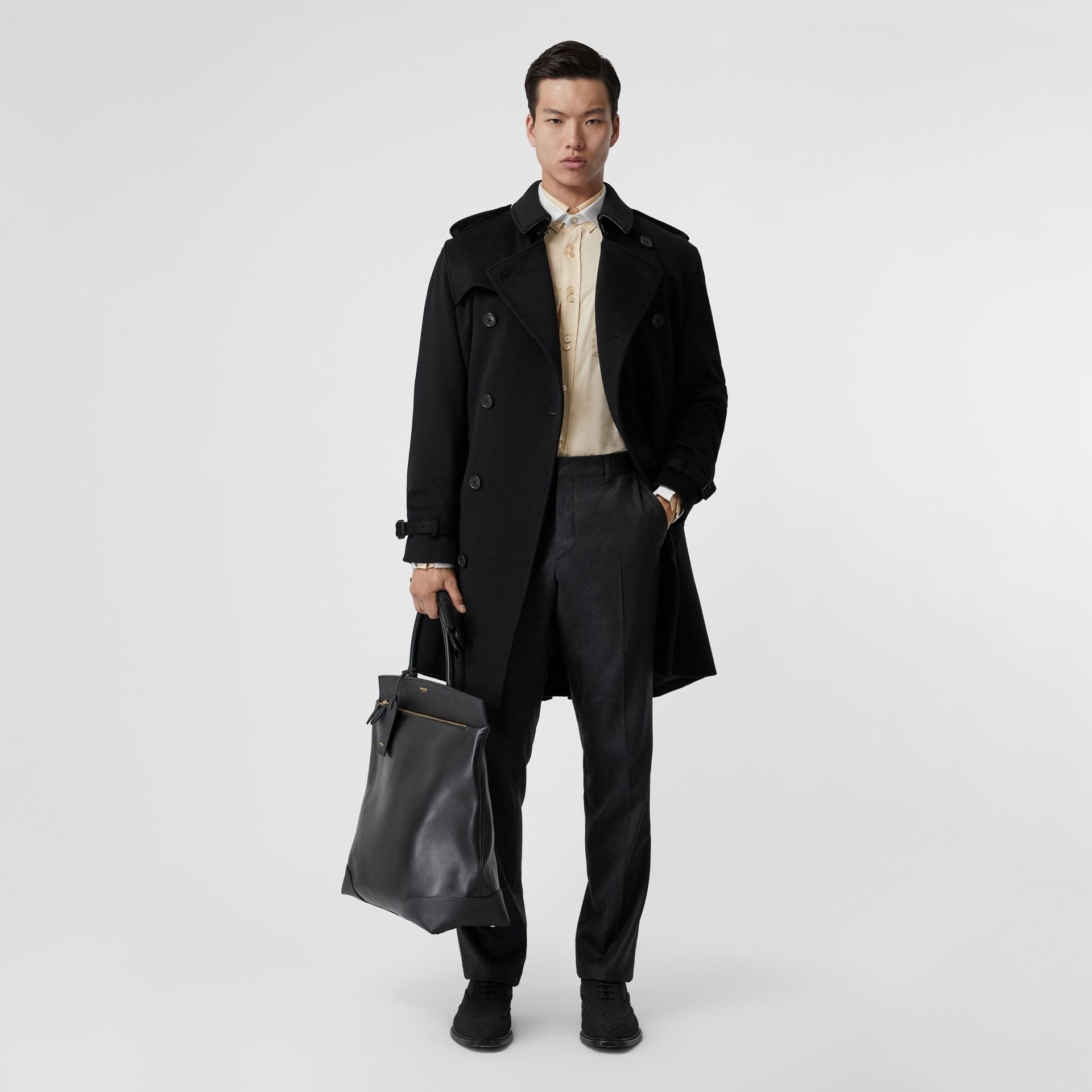 Cashmere Trench Coat in Black - Men | Burberry Australia - gallery image 0