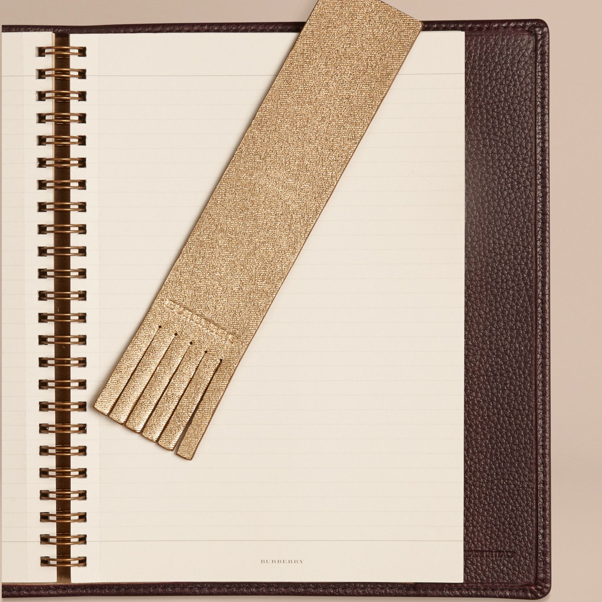 Gold Twill Embossed Leather Bookmark - gallery image 2