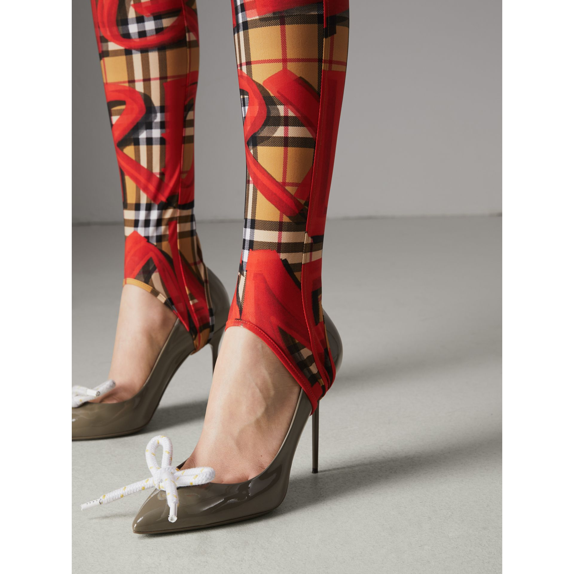 Graffiti Print Leggings in Bright Red - Women | Burberry - gallery image 1
