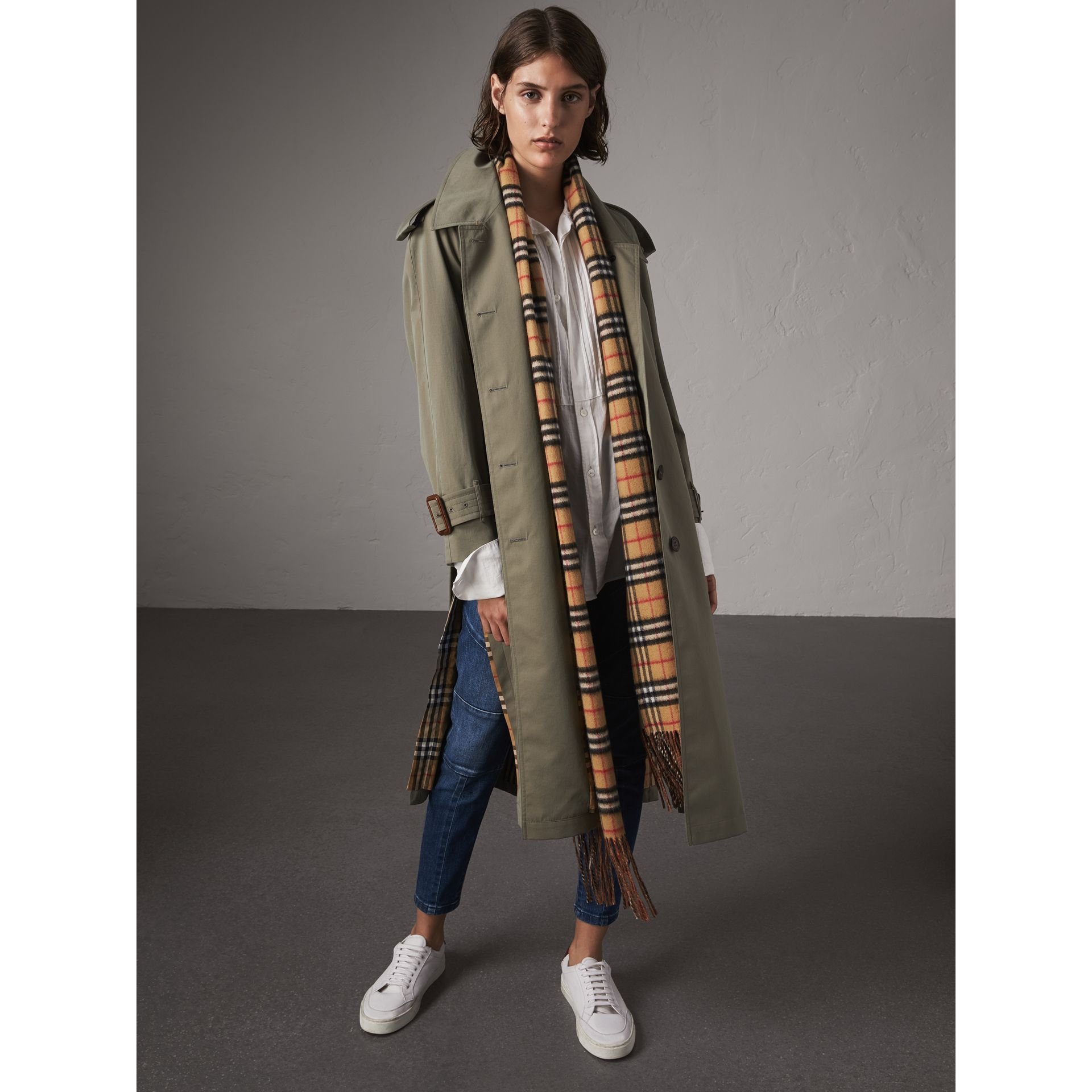 Side-slit Tropical Gabardine Trench Coat in Chalk Green - Women | Burberry - gallery image 0