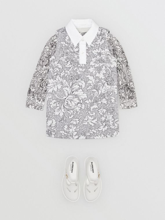 Floral Print Shift Dress in Mid Grey Melange