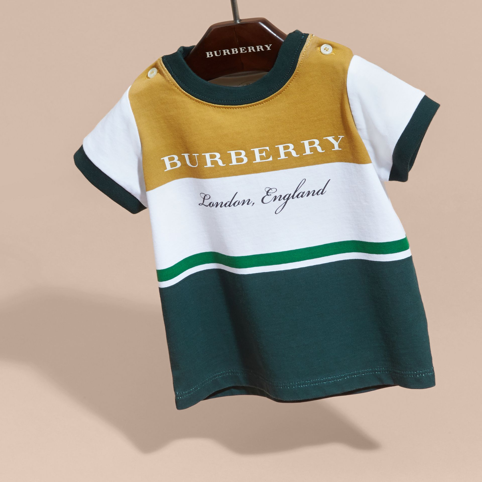 Multi Stripe Cotton T-shirt in Larch Yellow | Burberry - gallery image 3