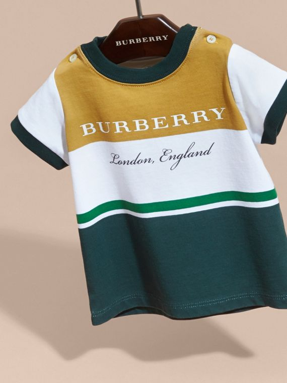 Multi Stripe Cotton T-shirt in Larch Yellow | Burberry - cell image 2