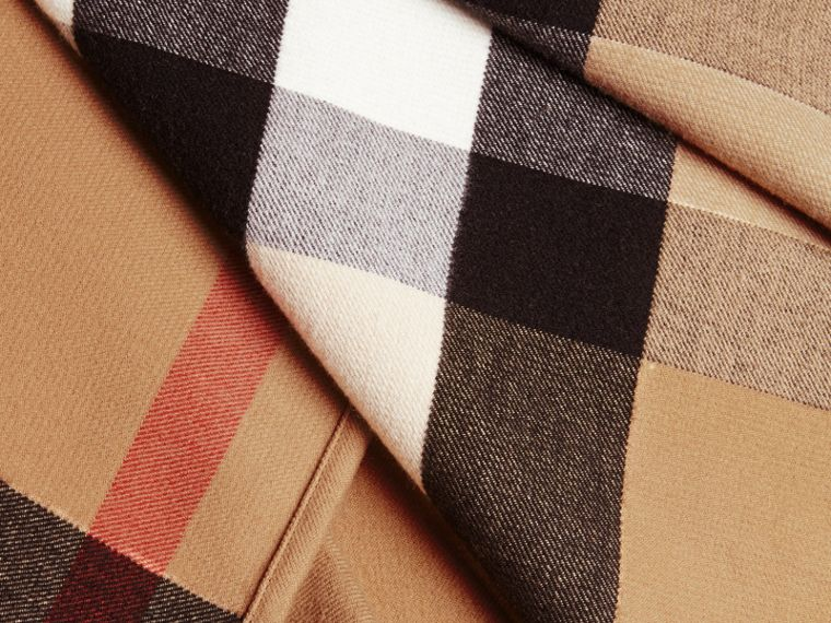 Check Merino Wool Poncho with Fox Fur Trim in Camel - Women | Burberry - cell image 1