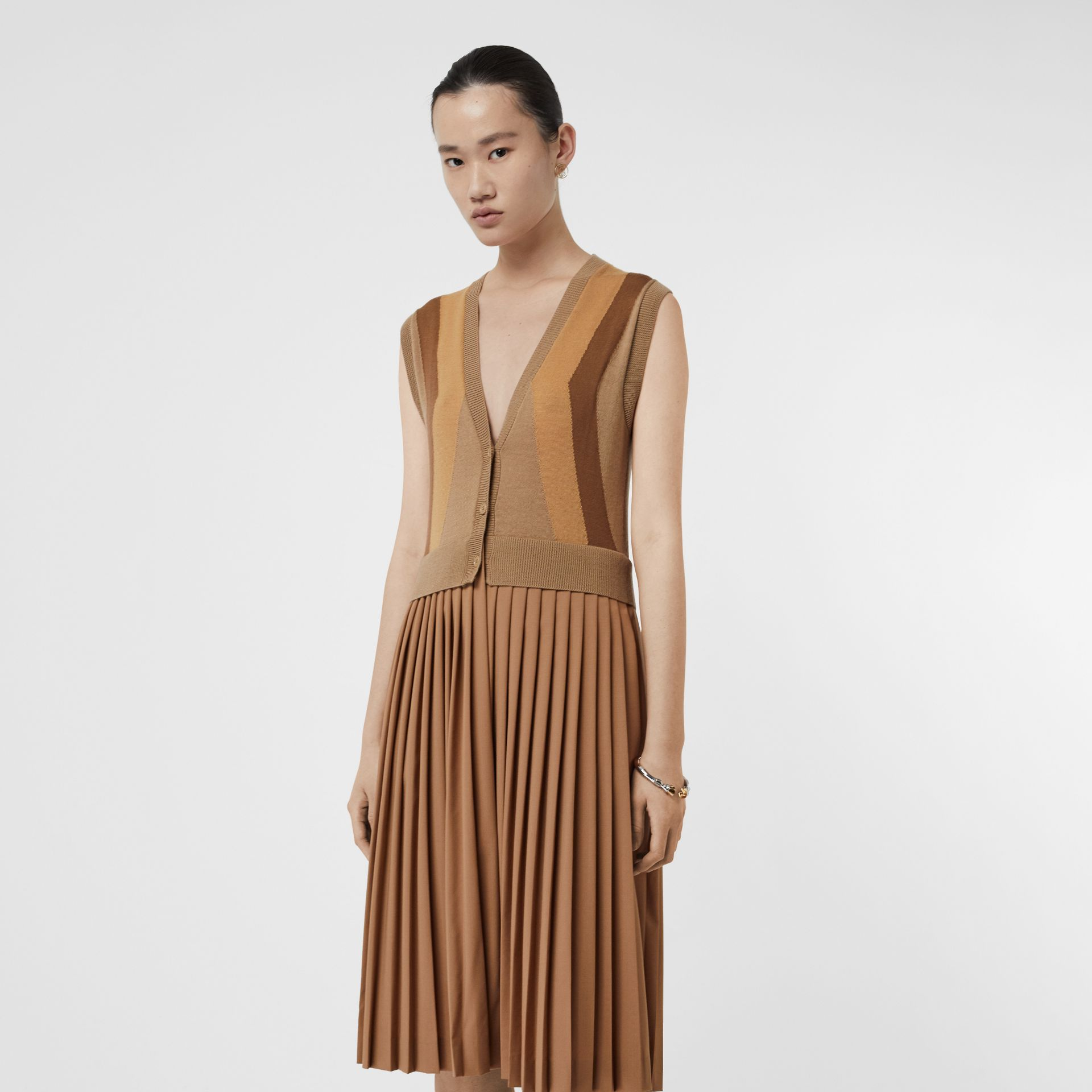 Sleeveless Knitted Wool V-neck Dress in Acorn - Women | Burberry - gallery image 0