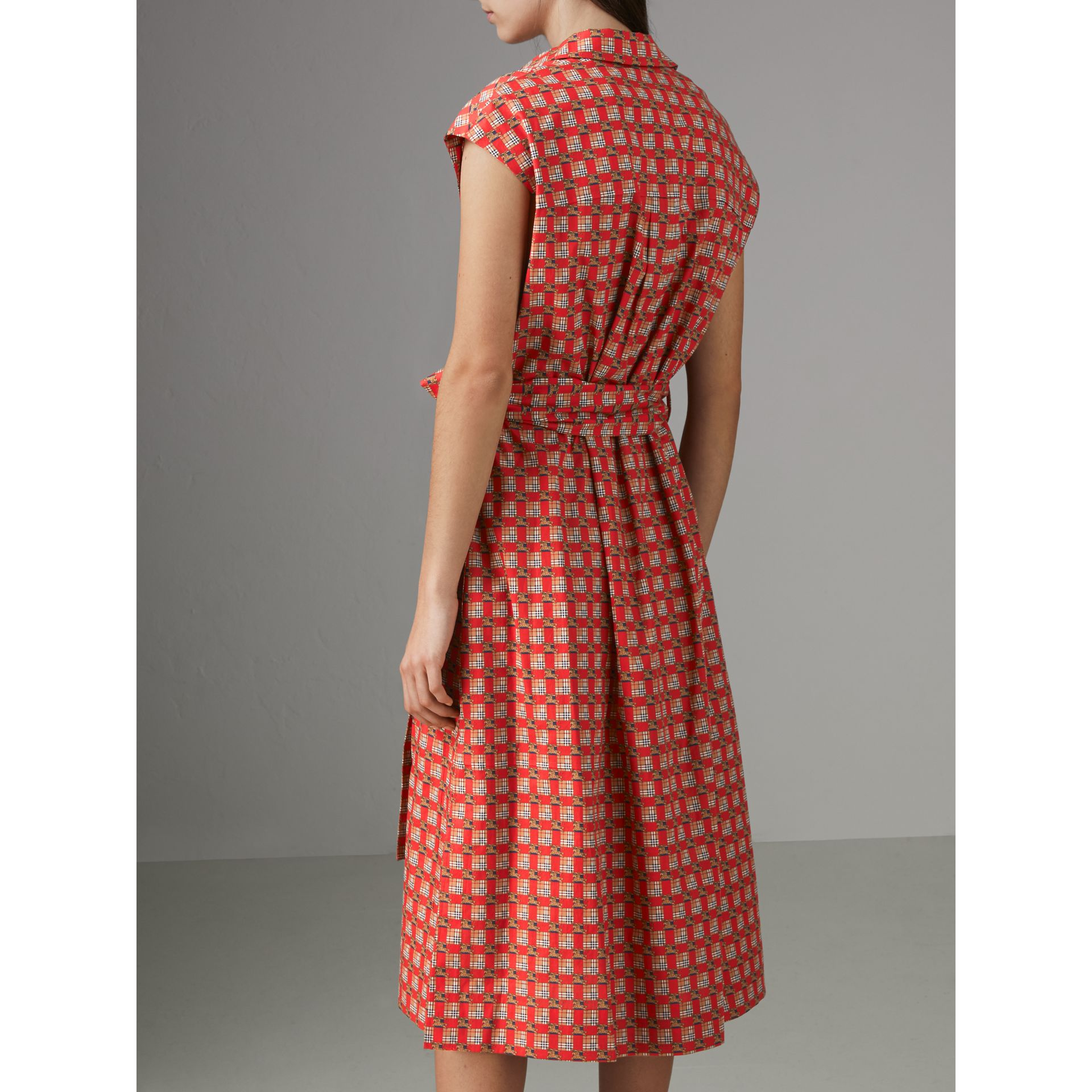 Tiled Archive Print Cotton Shirt Dress in Bright Red - Women | Burberry Australia - gallery image 2