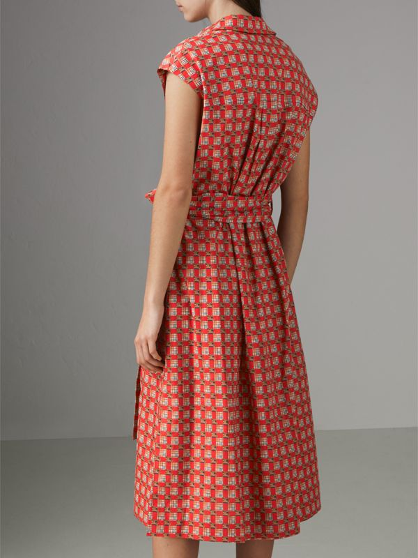 Tiled Archive Print Cotton Shirt Dress in Bright Red - Women | Burberry - cell image 2