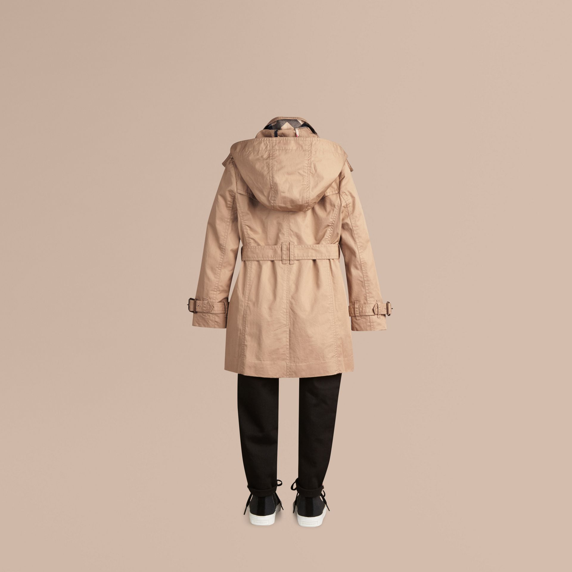Honey Cotton Twill Detachable Hood Trench Coat - gallery image 4