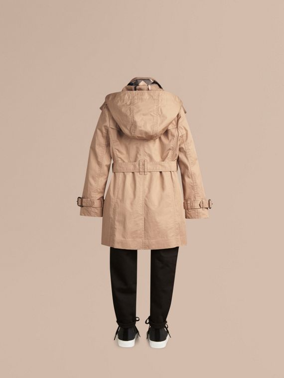 Honey Cotton Twill Detachable Hood Trench Coat - cell image 3