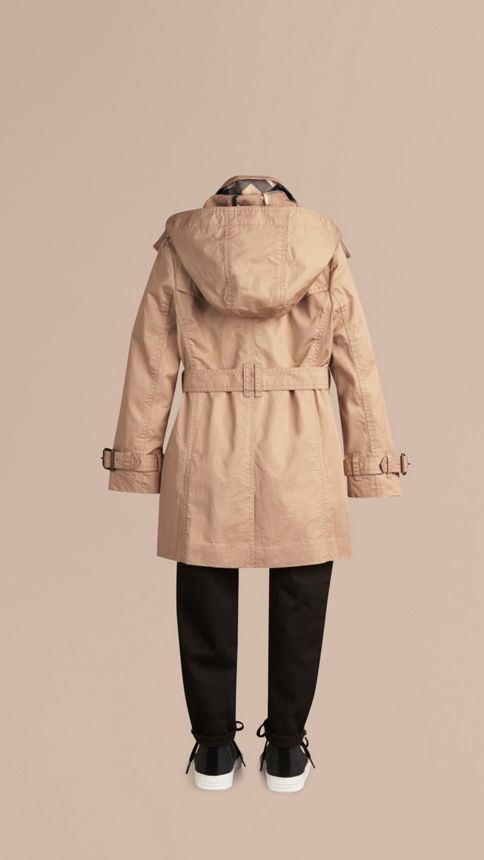 Honey Cotton Twill Detachable Hood Trench Coat - Image 4