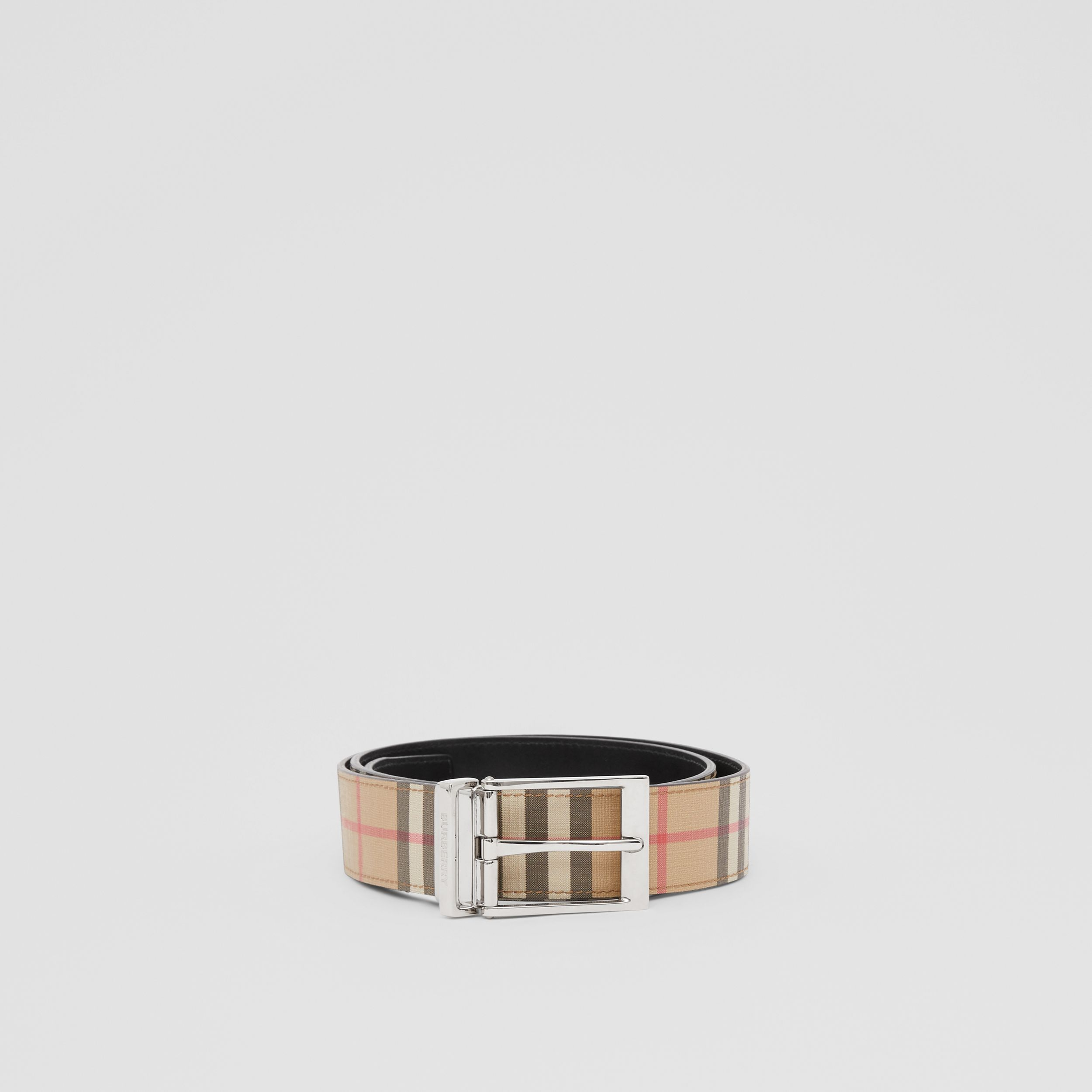 Reversible Vintage Check E-canvas and Leather Belt in Archive Beige/black - Men | Burberry Canada - 3