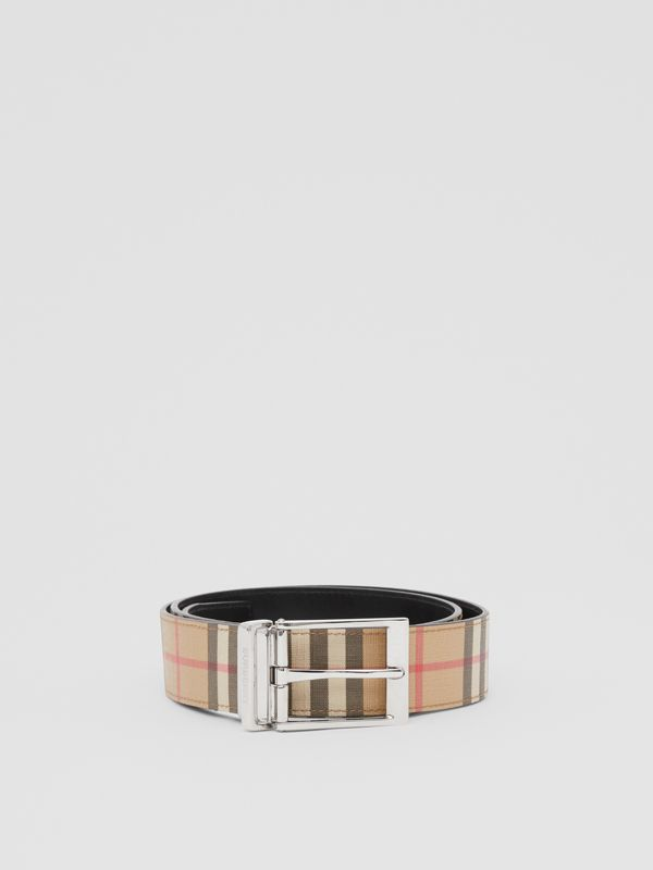 Reversible Vintage Check E-canvas and Leather Belt in Archive Beige/black - Men | Burberry - cell image 2