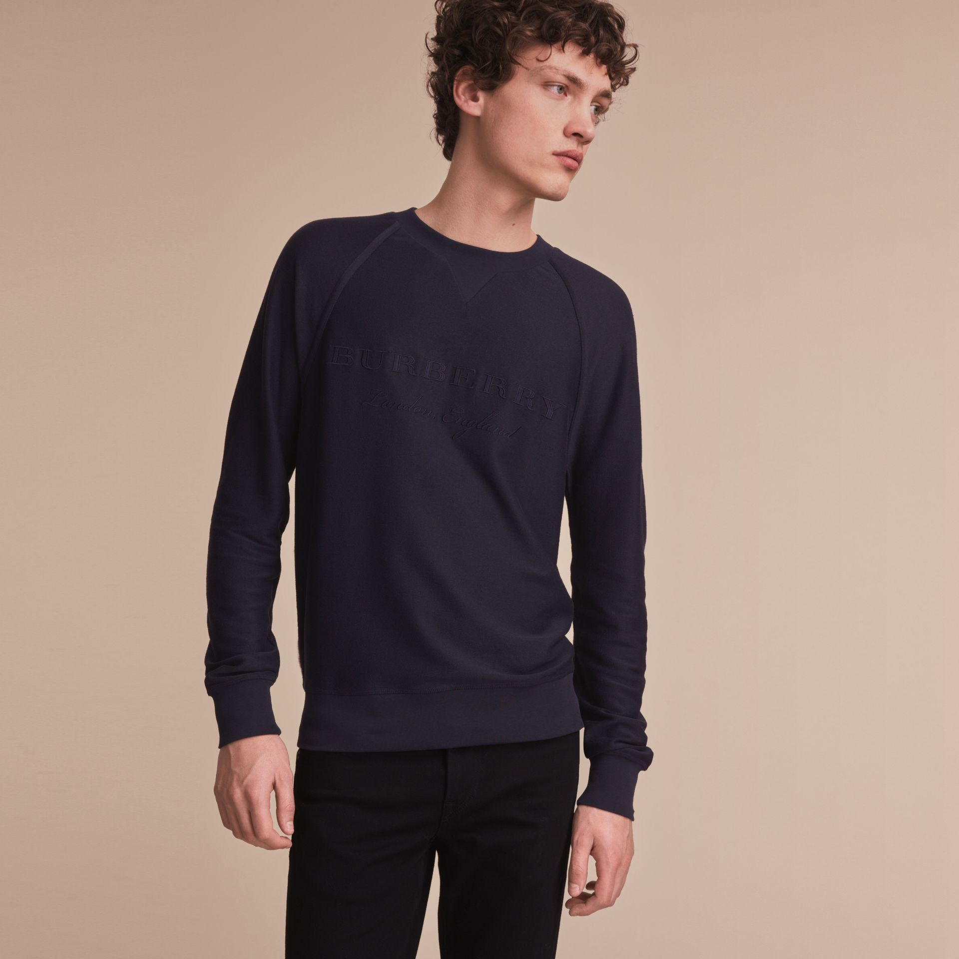 Embroidered Motif Cotton-blend Jersey Sweatshirt in Navy - Men | Burberry Australia - gallery image 6