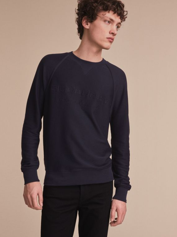 Embroidered Motif Cotton-blend Jersey Sweatshirt Navy