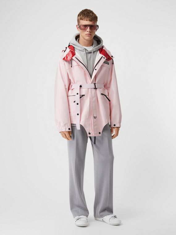 Cut-out Hem Two-tone Coated Nylon Parka in Pale Pink