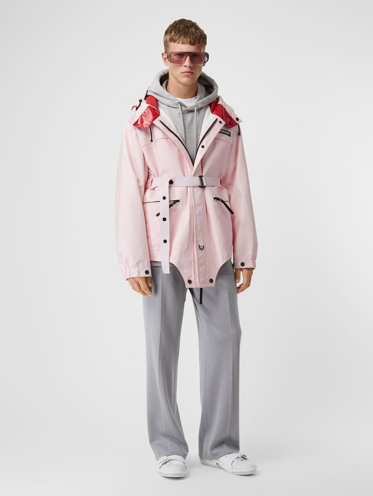Cut-out Hem Two-tone Coated Nylon Parka (Pale Pink)