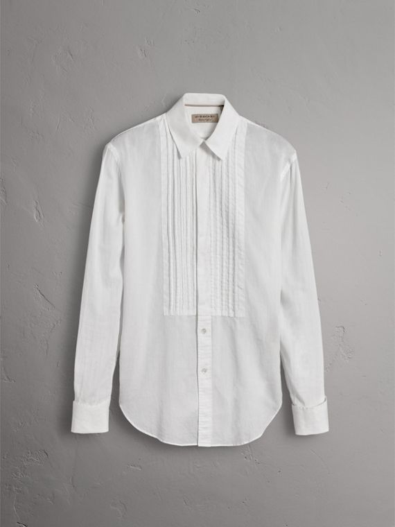 Unisex Double-cuff Pintuck Bib Cotton Shirt in White - Women | Burberry Australia - cell image 3