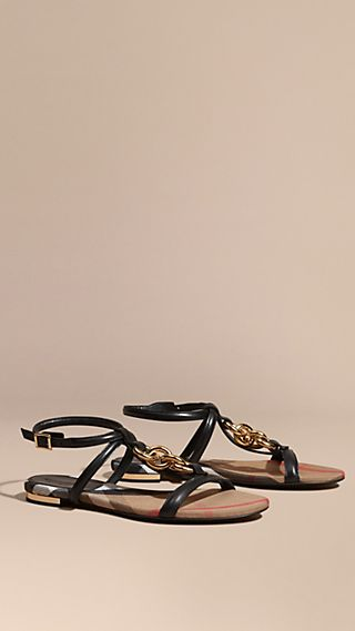 Chain Detail Leather Sandals Black