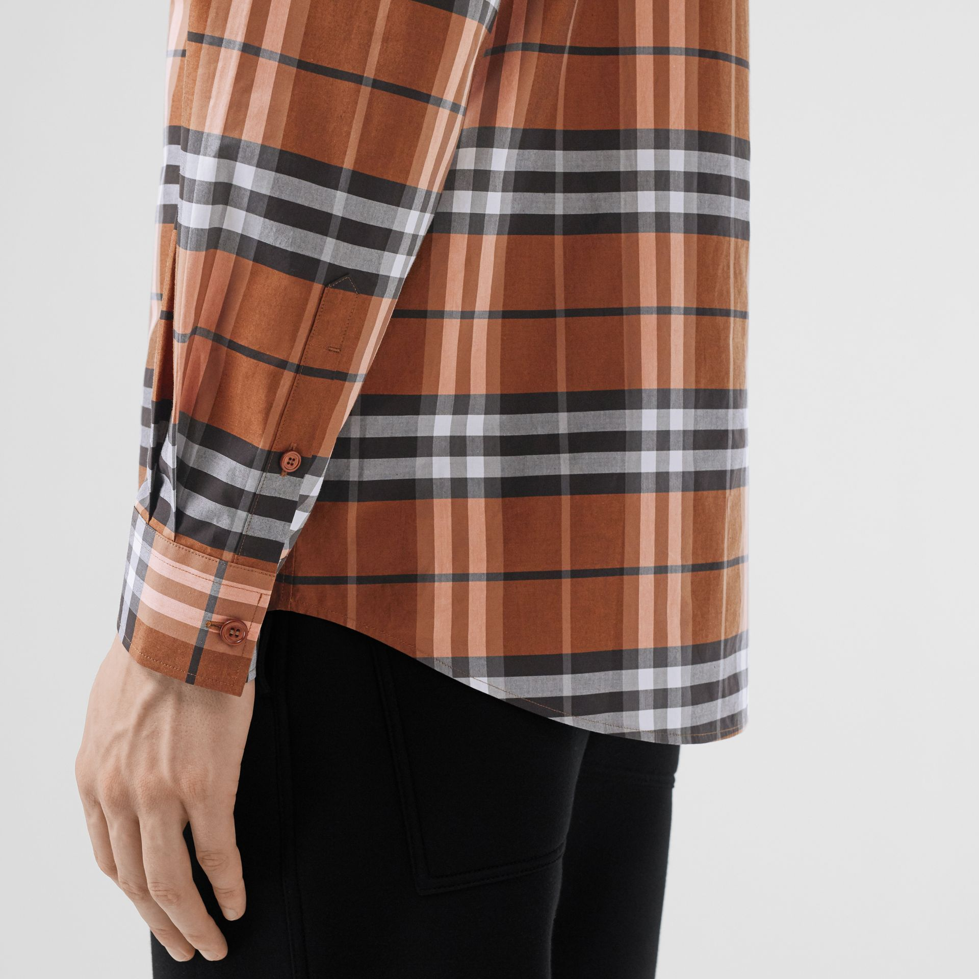 Vintage Check Cotton Poplin Shirt in Clementine - Men | Burberry - gallery image 1