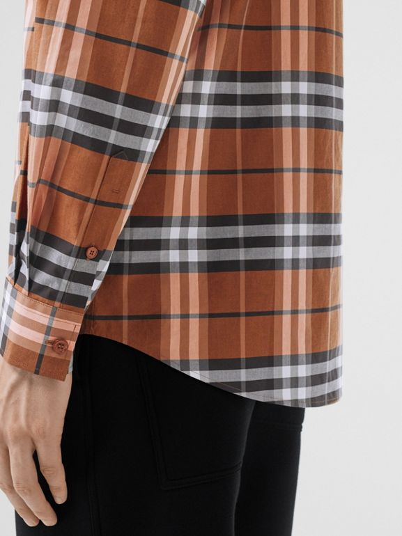 Vintage Check Cotton Poplin Shirt in Clementine - Men | Burberry - cell image 1