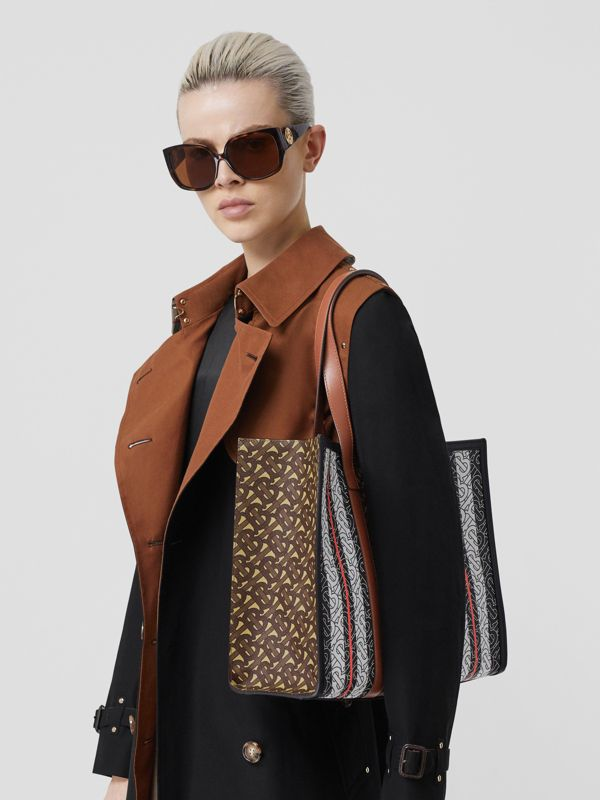 Small Monogram Stripe E-canvas Tote Bag in Bridle Brown - Women | Burberry Australia - cell image 2