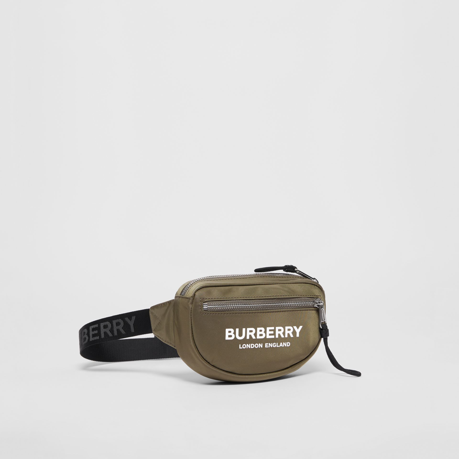 Small Logo Print Bum Bag in Canvas Green | Burberry United Kingdom - gallery image 4