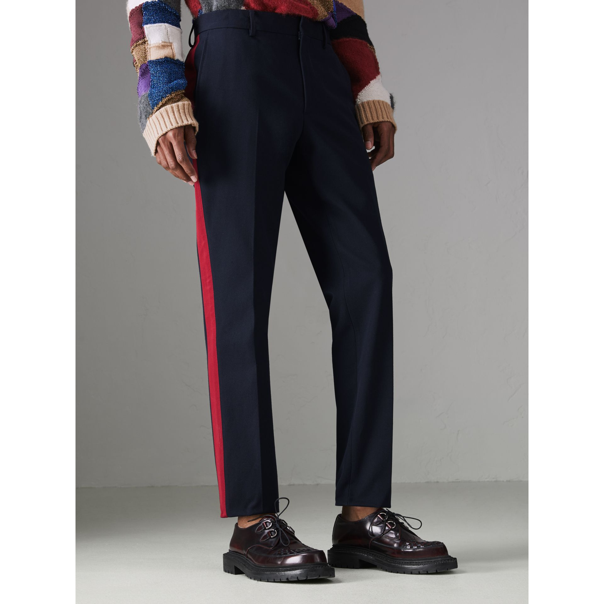 Contrast Stripe Wool Blend Tailored Trousers in Navy - Men | Burberry Singapore - gallery image 4