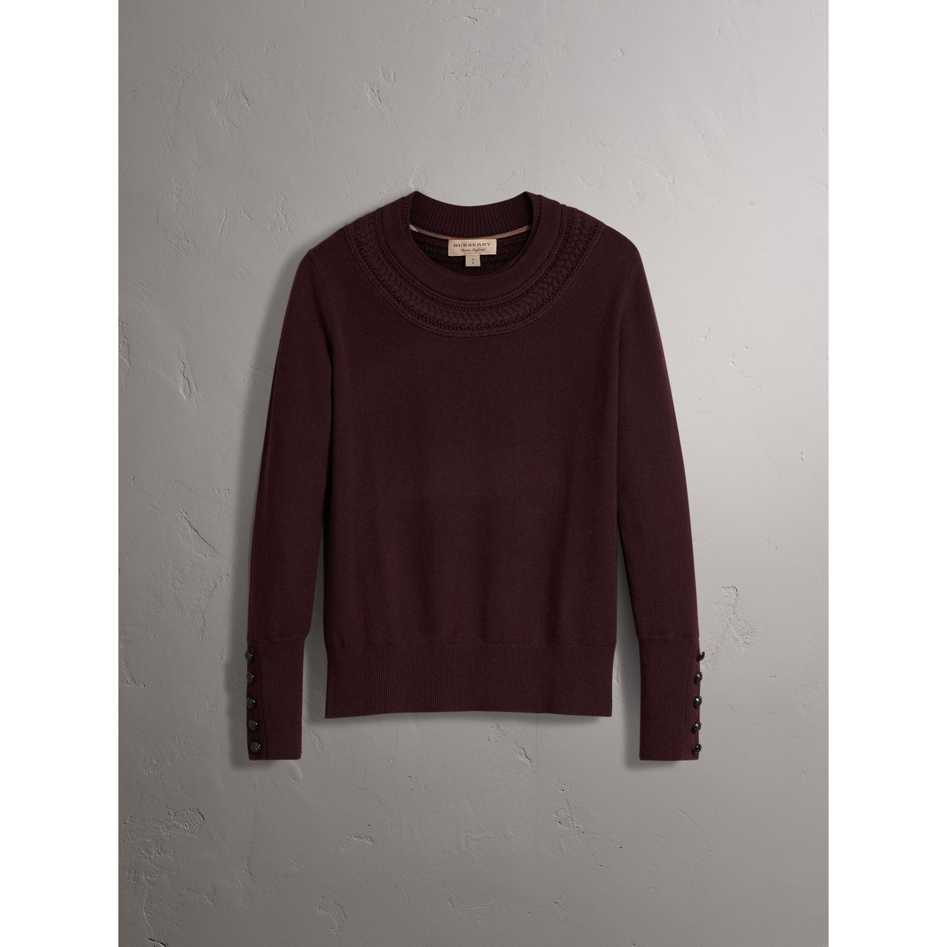 Cable Knit Yoke Cashmere Sweater in Deep Claret - Women | Burberry - gallery image 3