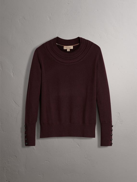 Cable Knit Yoke Cashmere Sweater in Deep Claret - Women | Burberry - cell image 3
