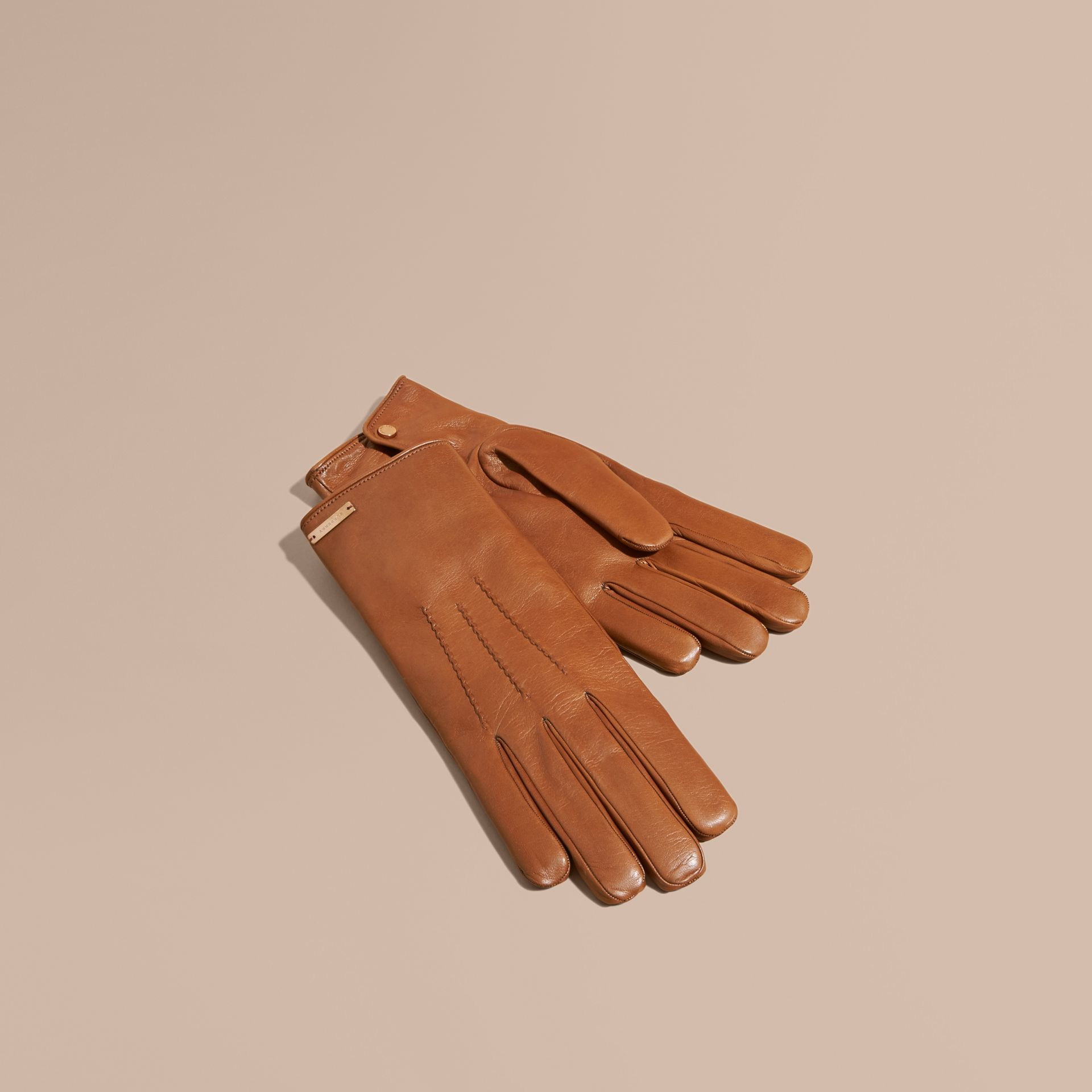 Cashmere Lined Lambskin Gloves in Malt Brown - Men | Burberry Canada - gallery image 1