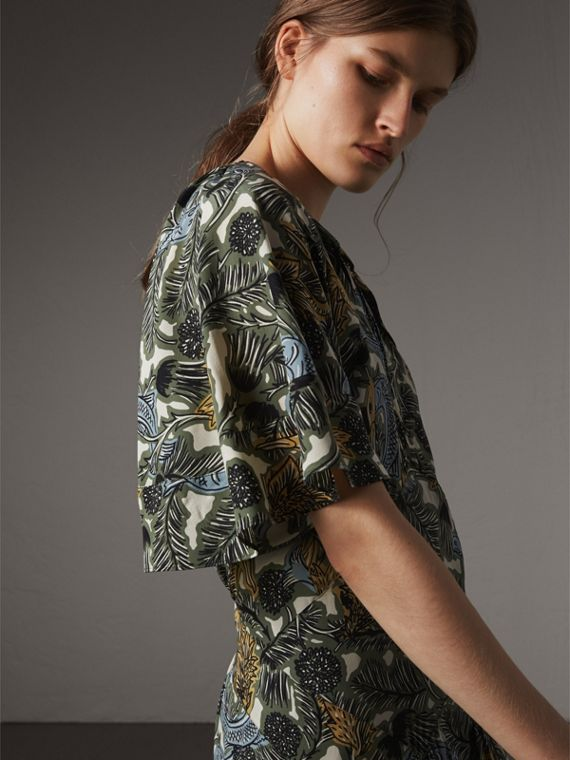 Beasts Print Deep V-neck Silk Longline Dress in Clay Green - Women | Burberry Australia - cell image 3
