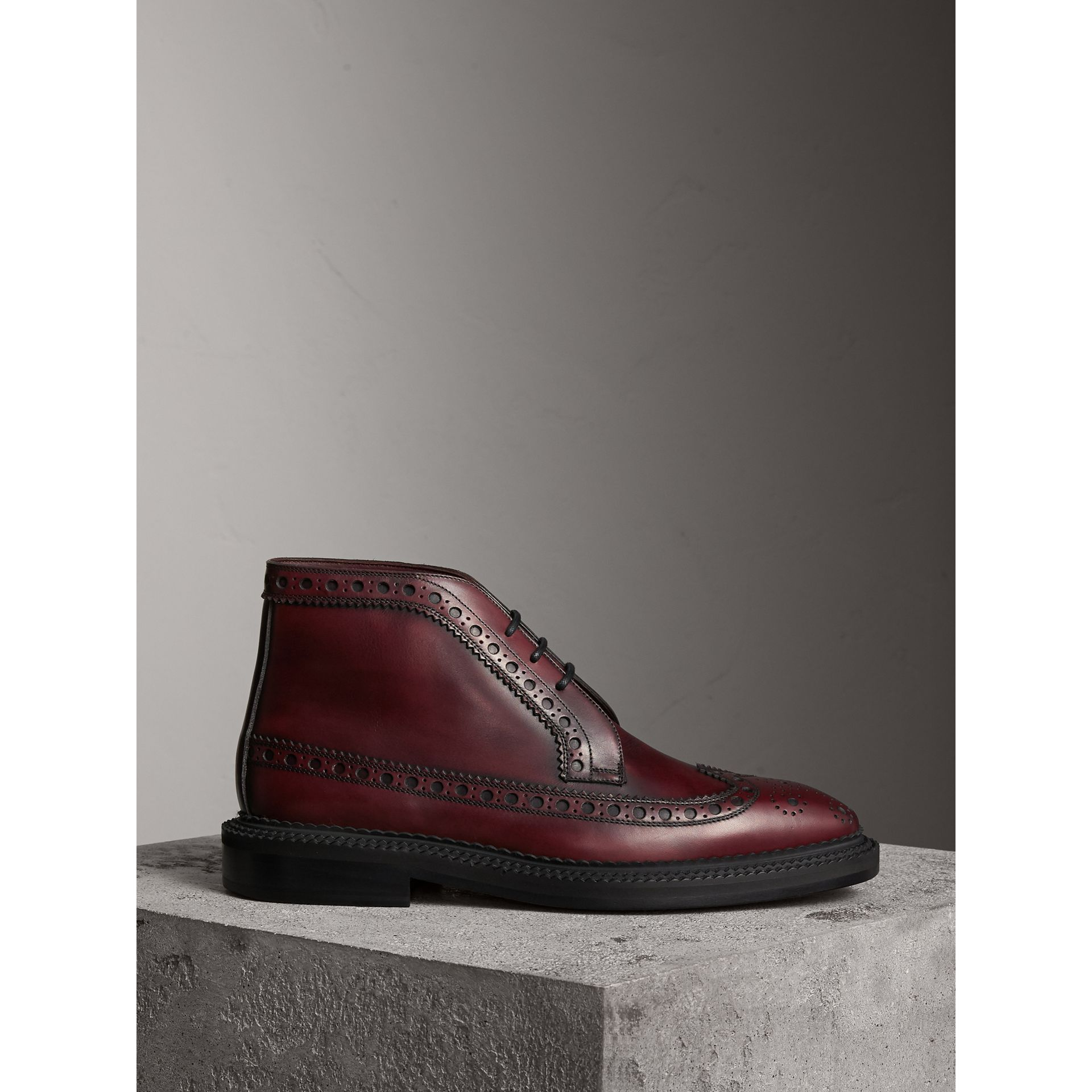 Leather Brogue Boots in Bordeaux - Men | Burberry - gallery image 0