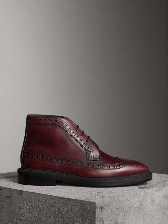 Leather Brogue Boots in Bordeaux
