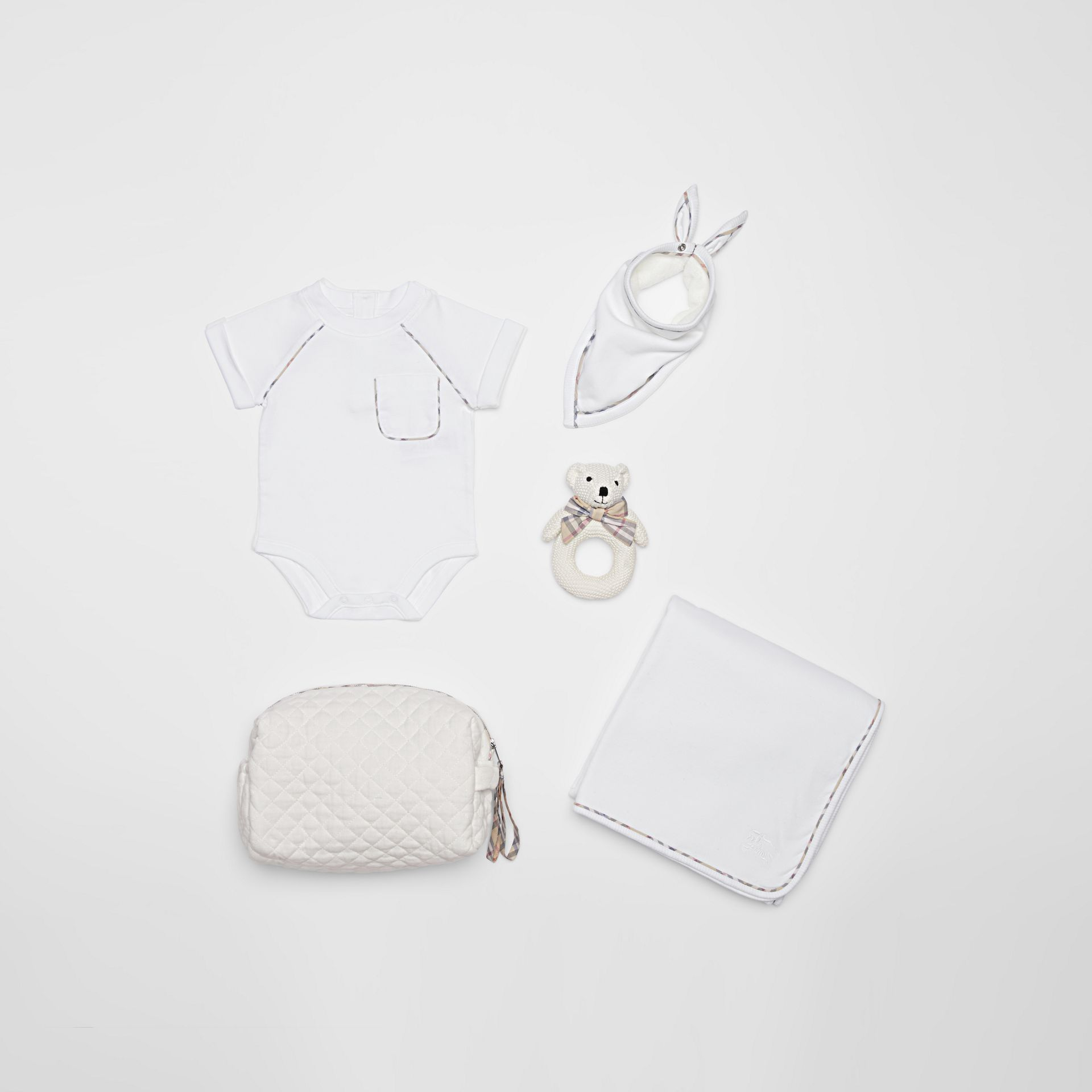Check Detail Cotton Four-piece Baby Gift Set in White - Children | Burberry Canada - gallery image 0