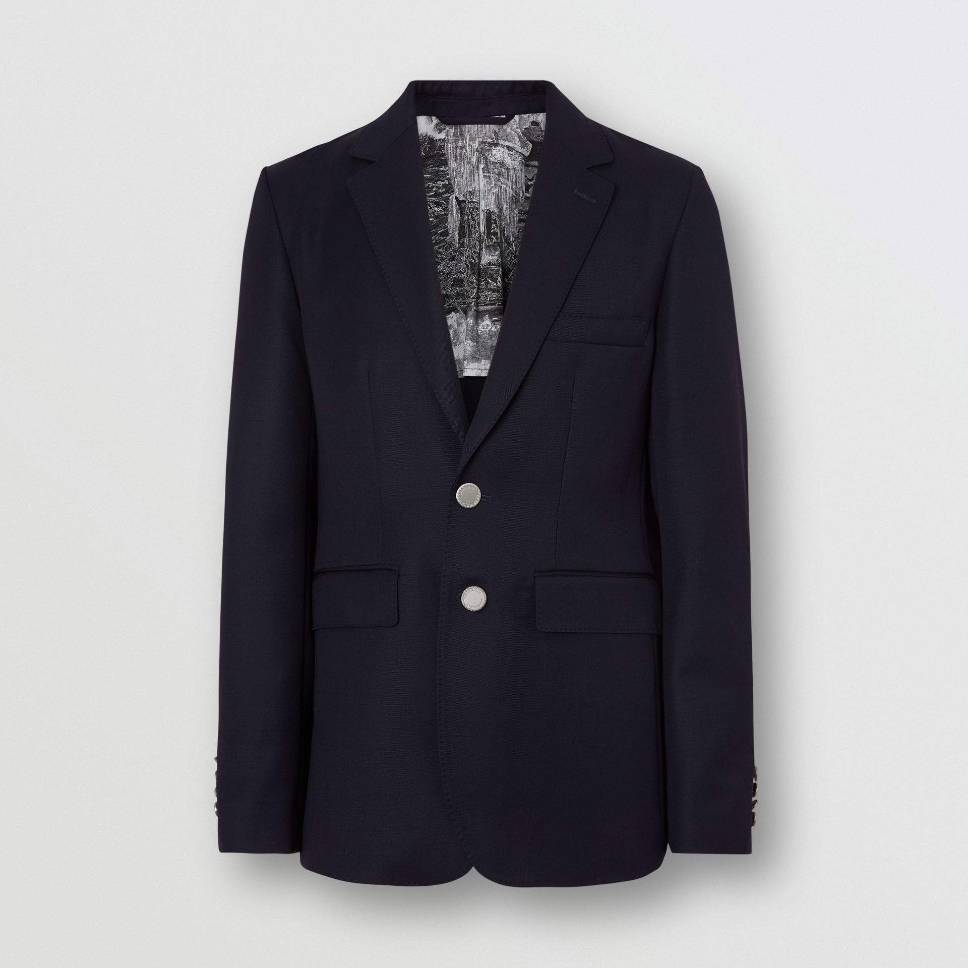 Slim Fit Metal Button Wool Gabardine Blazer in Navy - Men | Burberry Singapore - gallery image 6
