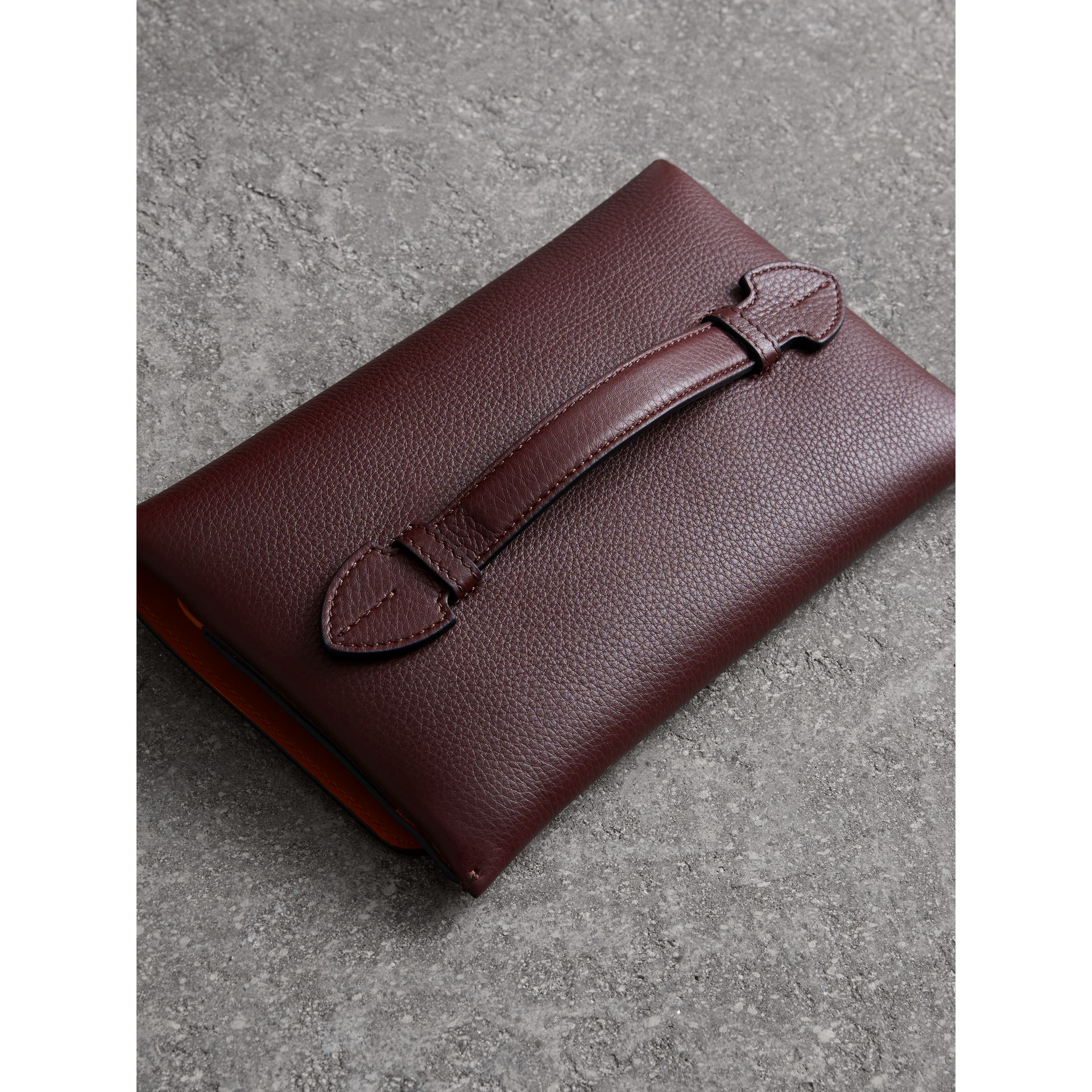 Two-tone Leather Wristlet Clutch in Deep Claret - Women | Burberry - gallery image 4