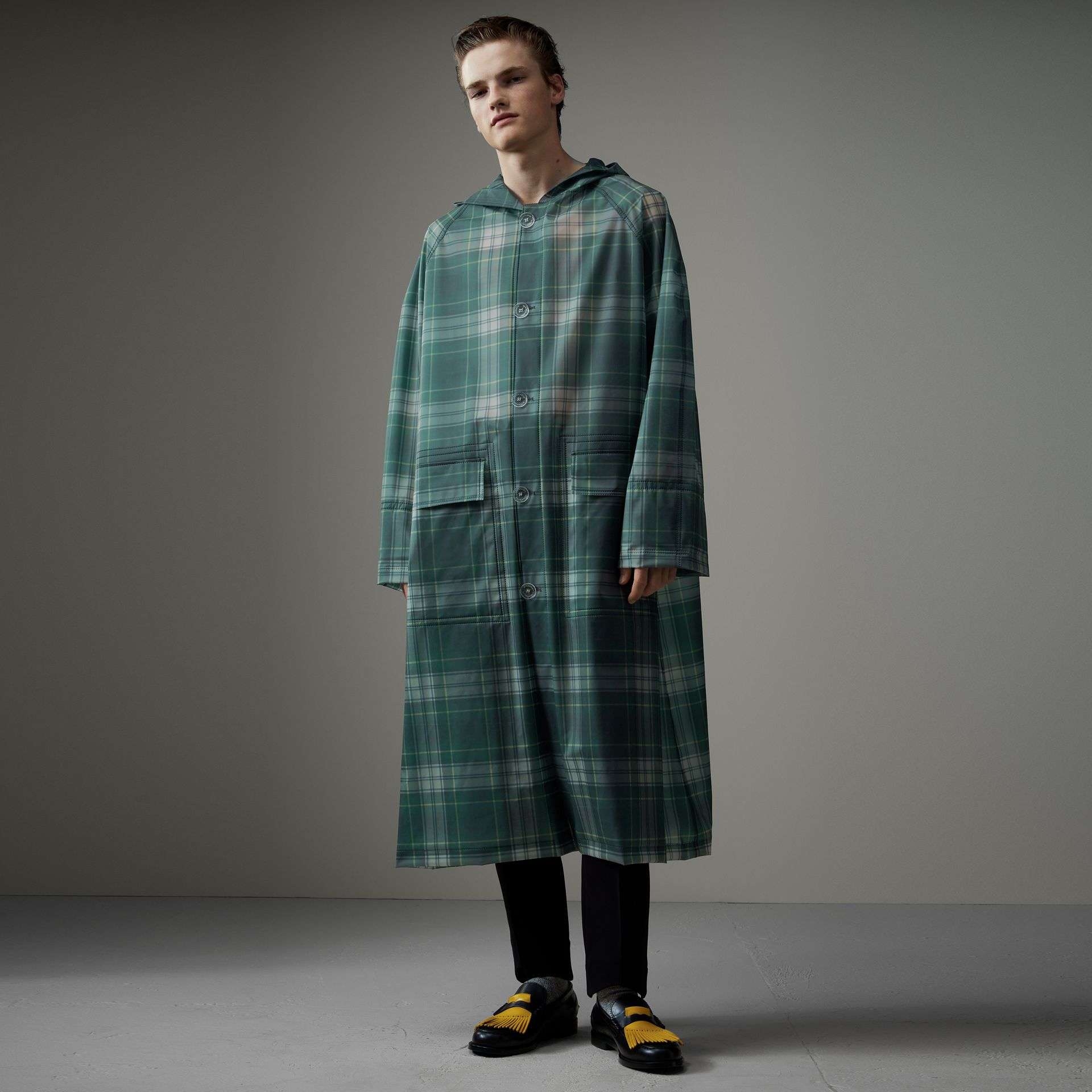 Tartan Soft-touch Plastic Hooded Car Coat in Navy - Men | Burberry - gallery image 0