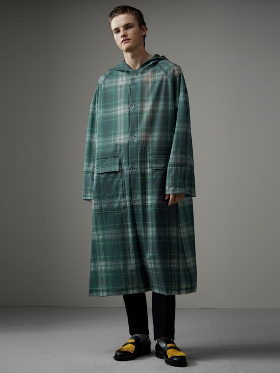 Tartan Soft-touch Plastic Hooded Car Coat in Navy