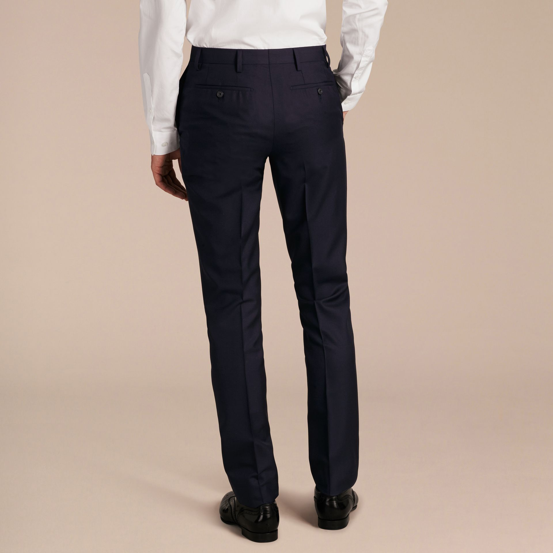 Slim Fit Wool Trousers in Navy - Men | Burberry United Kingdom - gallery image 2