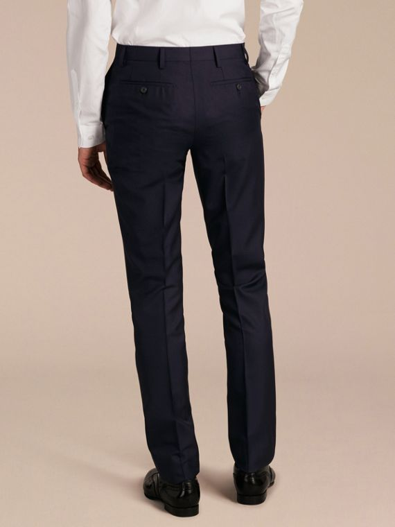 Slim Fit Wool Trousers in Navy - Men | Burberry Australia - cell image 2
