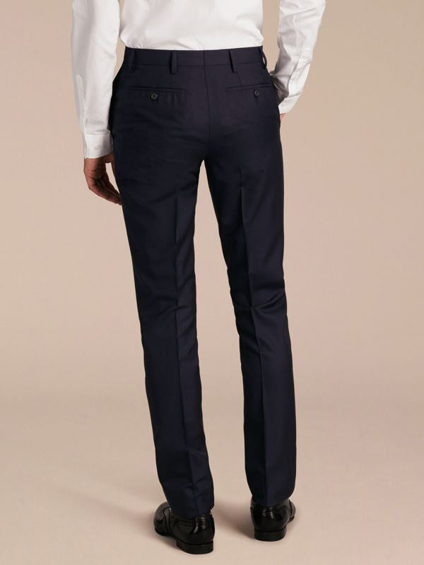 Slim Fit Wool Trousers in Navy - Men | Burberry - cell image 2