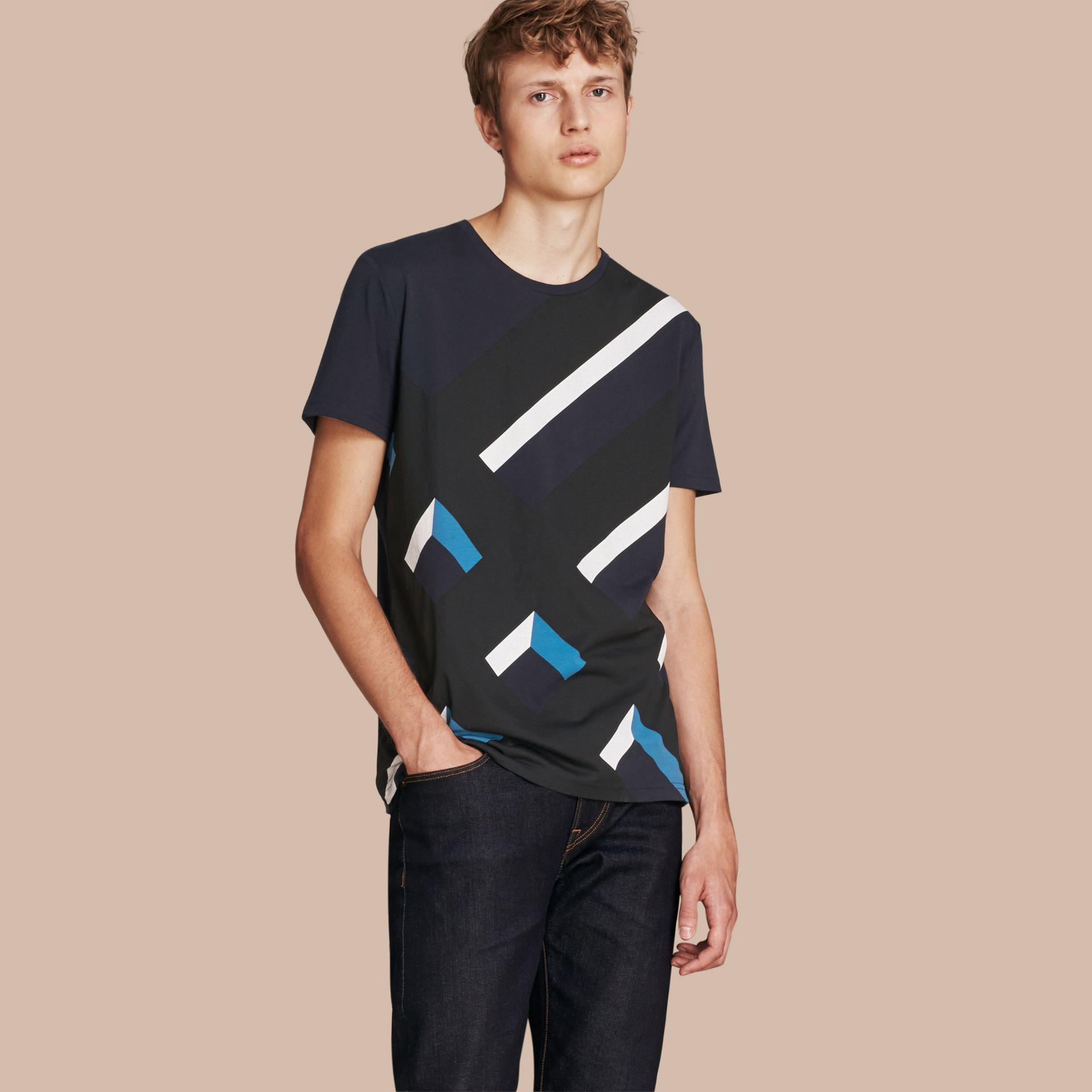 Abstract Check Print Cotton T-shirt Navy - gallery image 1