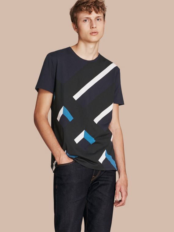 Abstract Check Print Cotton T-shirt Navy