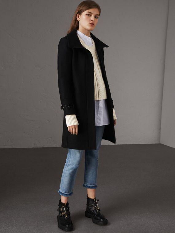 Technical Wool Cashmere Funnel Neck Coat in Black