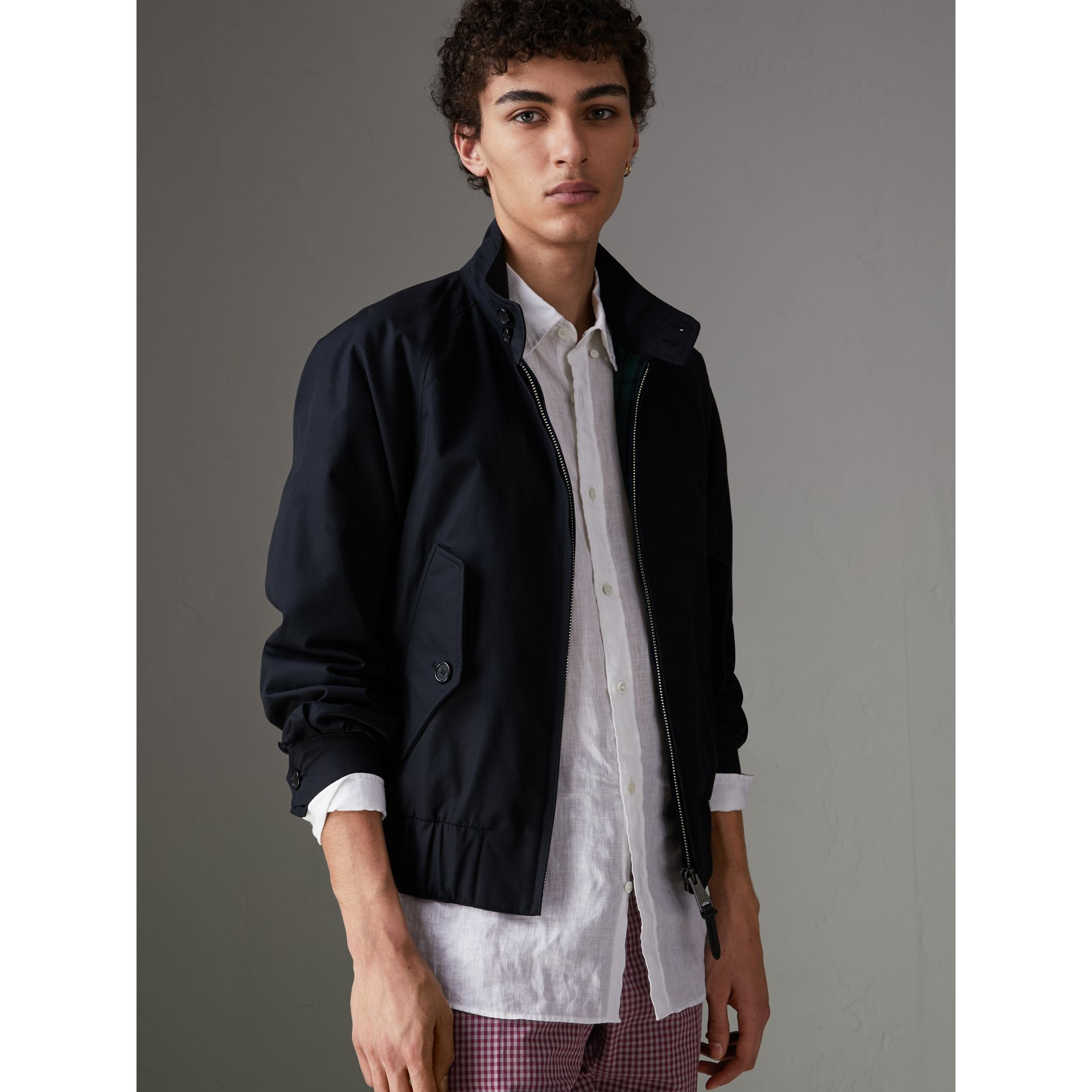Cotton Gabardine Harrington Jacket in Navy - Men | Burberry - gallery image 5