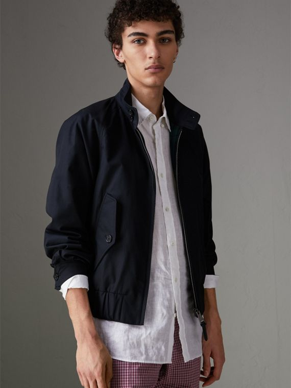 Cotton Gabardine Harrington Jacket in Navy