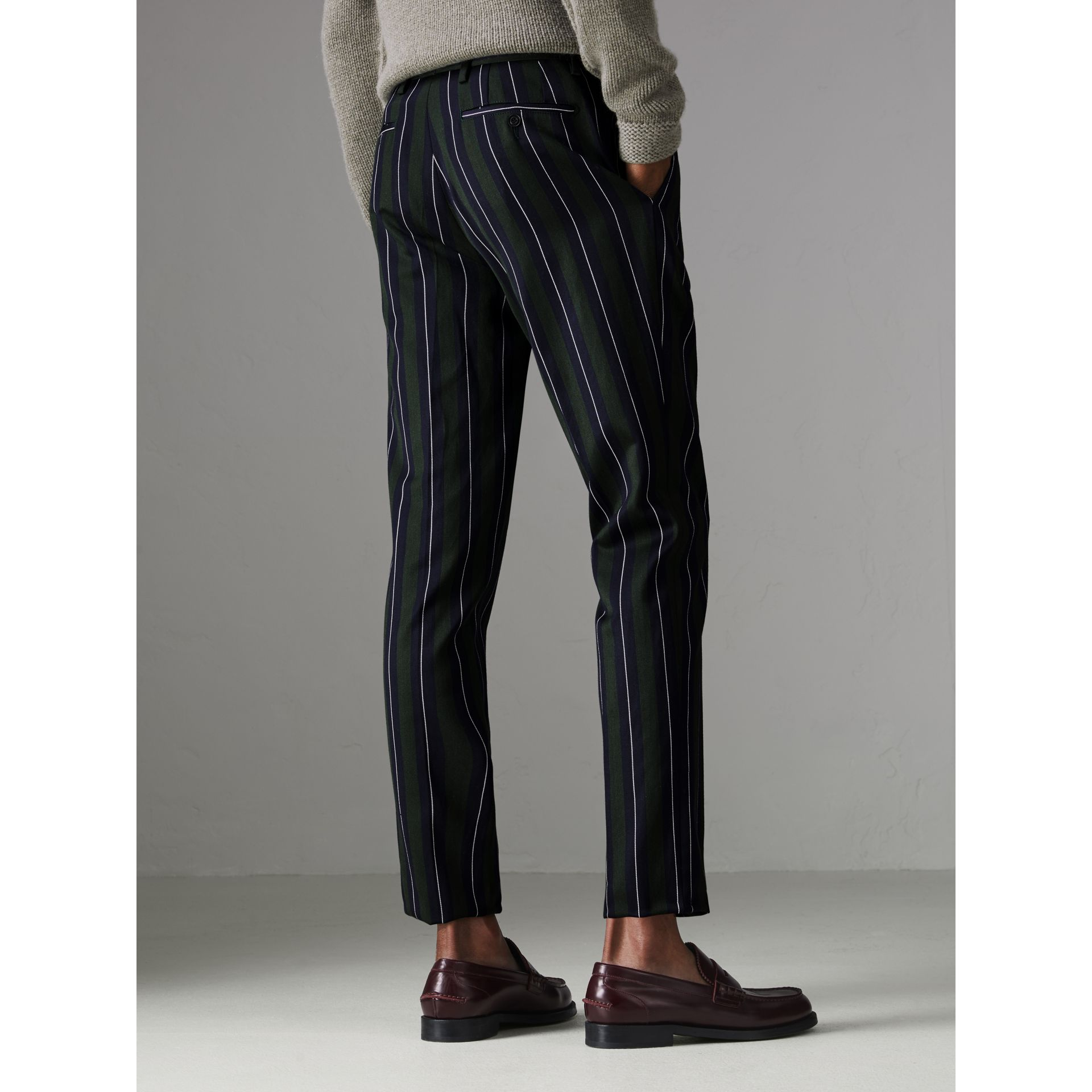 Striped Wool Cotton Tailored Trousers in Dark Forest Green - Men | Burberry Australia - gallery image 2
