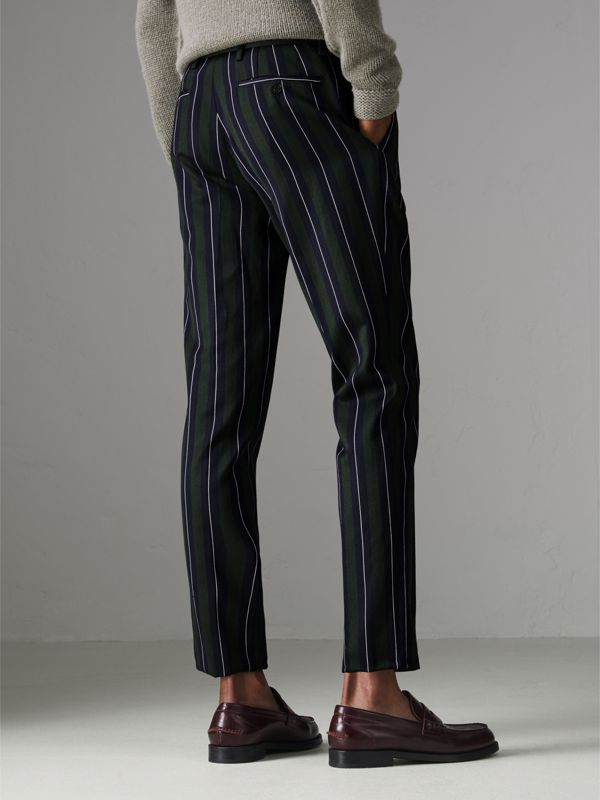 Striped Wool Cotton Tailored Trousers in Dark Forest Green - Men | Burberry United Kingdom - cell image 2