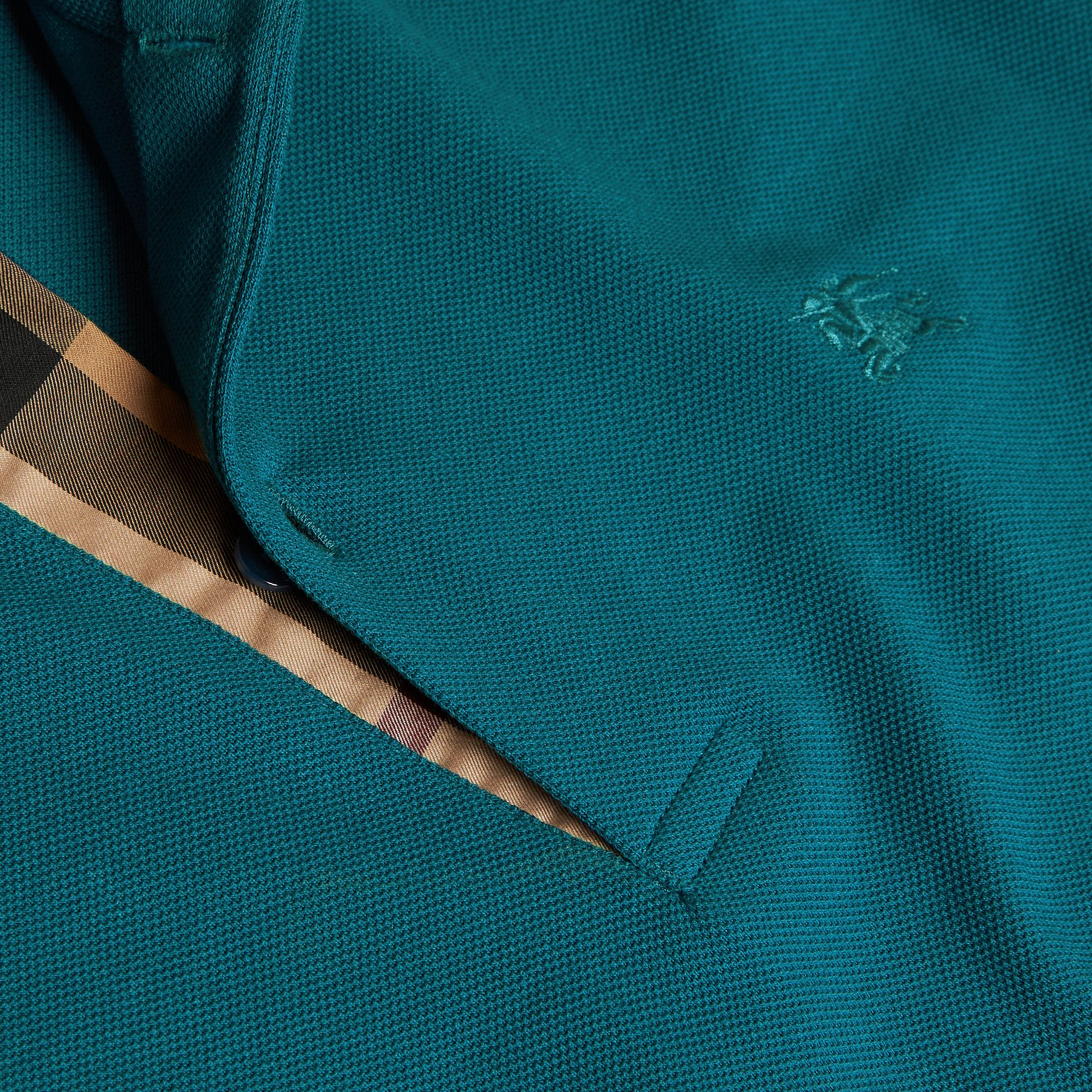 Check Placket Cotton Piqué Polo Shirt in Mineral Blue - gallery image 2